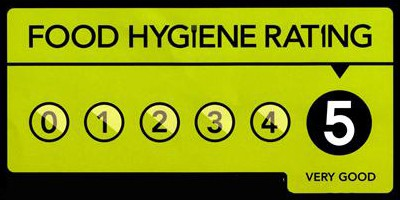 Sign showing a Very Good Food Hygiene Rating - a Food Hygiene score of 5